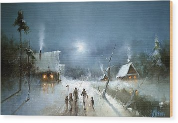 Christmas Night Wood Print by Igor Medvedev