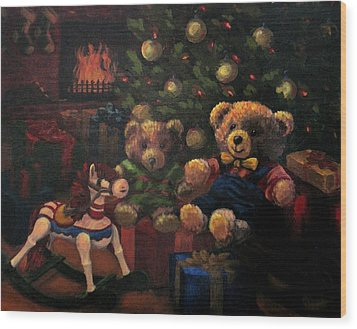Wood Print featuring the painting Christmas Past by Karen Ilari