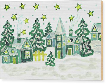 Christmas Picture In Green Wood Print