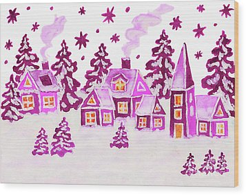 Christmas Picture In Pink Colours Wood Print by Irina Afonskaya