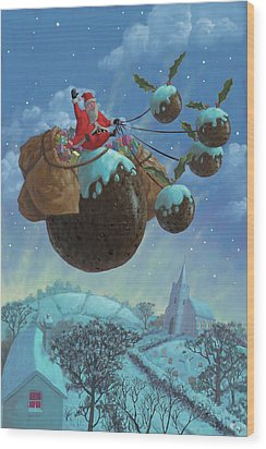 Christmas Pudding Santa Ride Wood Print by Martin Davey