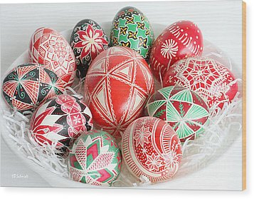 Christmas Pysanky Wood Print by E B Schmidt