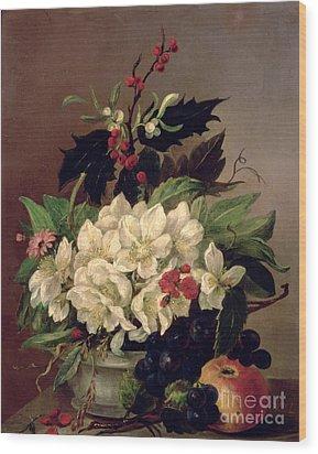 Christmas Roses Wood Print by Willem van Leen