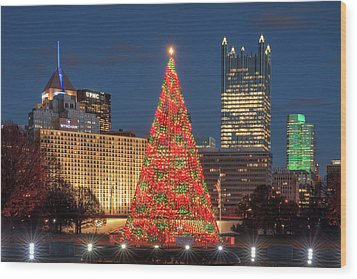 Wood Print featuring the photograph Christmas  Season In Pittsburgh  by Emmanuel Panagiotakis