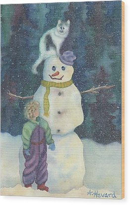 Christmas Snowman Wood Print by Anne Havard