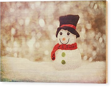 Wood Print featuring the photograph Christmas Snowman by Bellesouth Studio