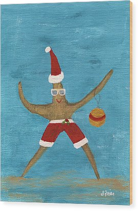Christmas Starfish Wood Print by Jamie Frier