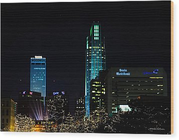 Christmas Time In Omaha Wood Print by Edward Peterson