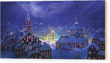 Christmas Town Wood Print by Philip Straub