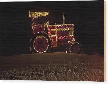 Christmas Tractor   Wood Print