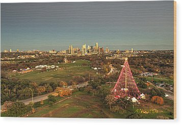 Christmas Tree In Austin Wood Print