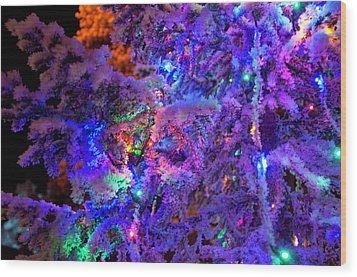 Christmas Tree Night Decoration Wood Print