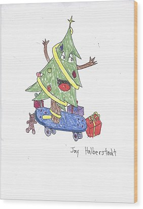 Christmas Tree On Skateboard Wood Print