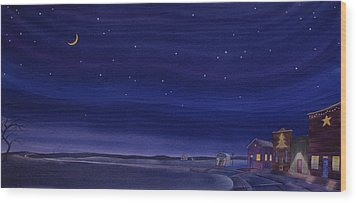 Wood Print featuring the painting Christmastime In Prairie Town by Scott Kirby