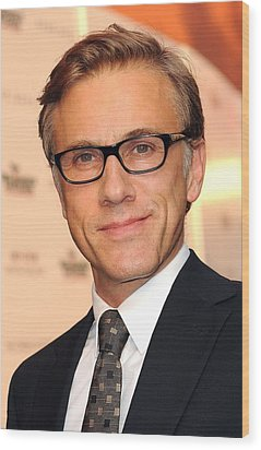 Christoph Waltz At Arrivals Wood Print by Everett