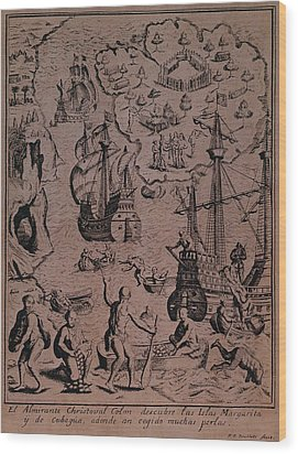 Christopher Colombus Discovering The Islands Of Margarita And Cubagua Where They Found Many Pearls Wood Print by Spanish School