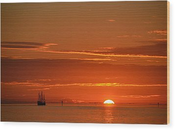 Christopher Columbus Replica Wooden Sailing Ship Nina Sails Off Into The Sunset Wood Print by Jeff at JSJ Photography