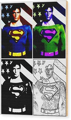 Christopher Reeve - Our Man Of Steel 1952 To 2004 Wood Print by Saad Hasnain