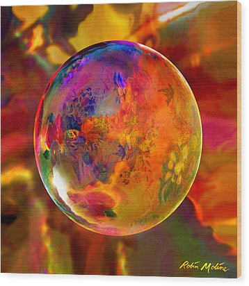 Chromatic Floral Sphere Wood Print by Robin Moline