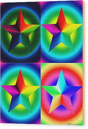 Chromatic Star Quartet With Ring Gradients Wood Print by Eric Edelman