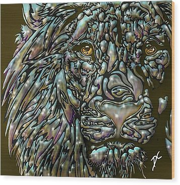 Chrome Lion Wood Print