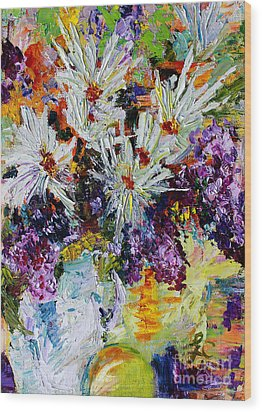 Wood Print featuring the painting Chrysanthemums And Lilacs Still Life by Ginette Callaway