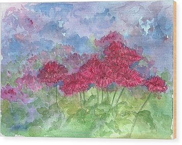 Wood Print featuring the painting Chrysanthemums by Cathie Richardson