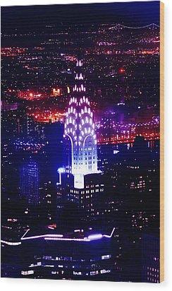 Chrysler Building At Night Wood Print by Az Jackson