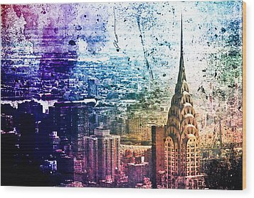 Chrysler Building - Colorful - New York City Wood Print by Vivienne Gucwa