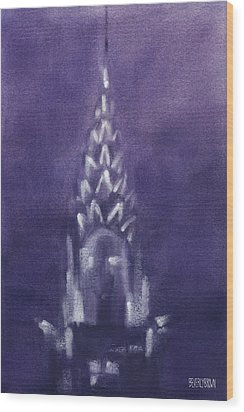 Chrysler Building Violet Night Sky Wood Print by Beverly Brown