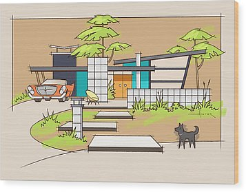 Chrysler With Black Dog, A Mid-century Home Wood Print