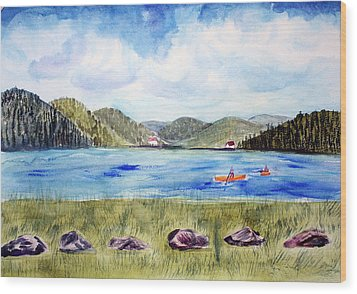 Wood Print featuring the painting Chrystal Lake  Barton Vt  by Donna Walsh