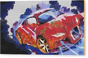 Wood Print featuring the painting Chubby Car Red by Catherine Lott