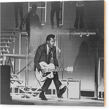 Chuck Berry B. 1926 On Stage, Playing Wood Print by Everett