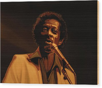 Chuck Berry Gold Wood Print by Paul Meijering