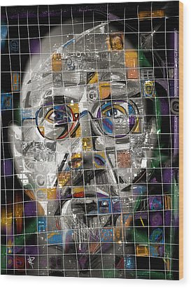 Chuck Close Wood Print by Russell Pierce