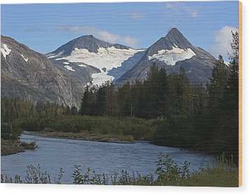 Chugach Mountains Wood Print by Dave Clark
