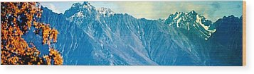 Chugach Mountains In Fall Wood Print by Judyann Matthews