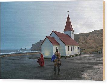 Wood Print featuring the photograph Church Above Reynisfjara Black Sand Beach, Iceland by Dubi Roman