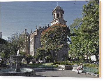 Wood Print featuring the photograph Church And Fountain Guadalajara by Jim Walls PhotoArtist