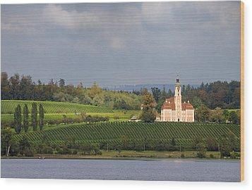 Church Birnau Lake Constance In Great Landscape Wood Print by Matthias Hauser