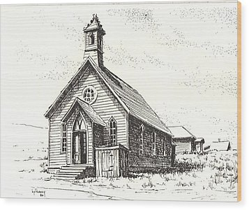 Church Bodie Ghost Town California Wood Print by Kevin Heaney