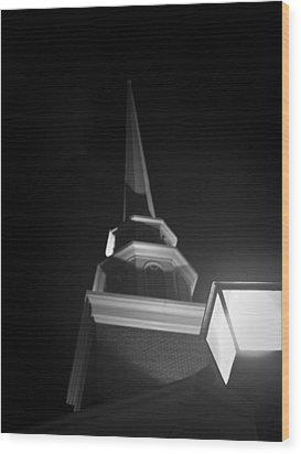 Church By Lamplight Wood Print