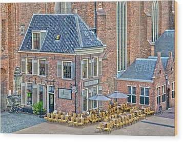 Church Cafe In Groningen Wood Print by Frans Blok