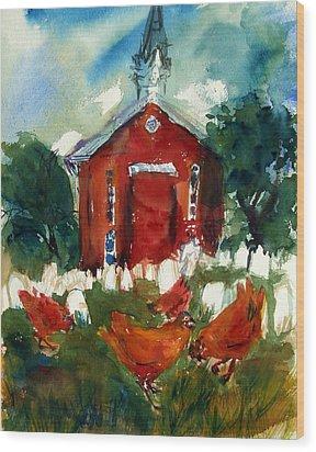 Church Hens Wood Print by Diana Ludwig