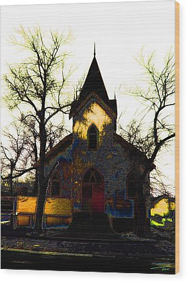 Wood Print featuring the digital art Church I by Stuart Turnbull