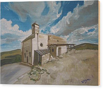 Church In Iqrit Wood Print by Marwan  Khayat