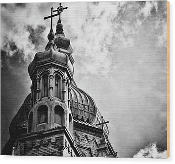 Wood Print featuring the photograph Church In The Clouds by Sheryl Thomas