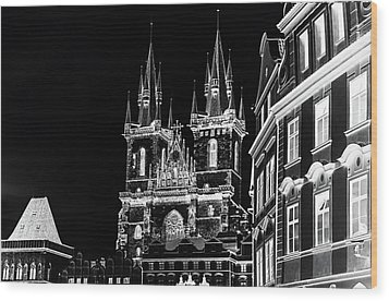 Wood Print featuring the photograph Church Of Our Lady Before Tyn. Night Prague by Jenny Rainbow