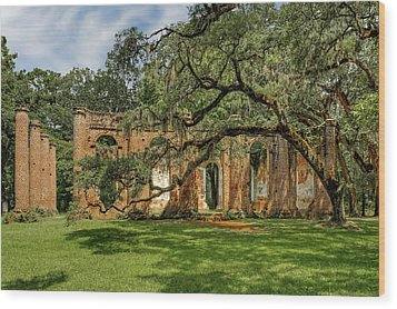 Wood Print featuring the photograph Church Of Prince William Parish  -  Sheldonchurchruin173012 by Frank J Benz